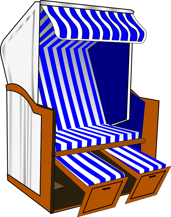 Roofed Wicker Beach Chair, Beach Chair, Beach, Chair