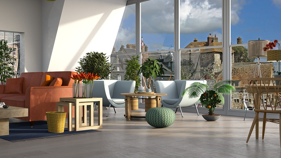 Blue, Chair, Furniture, Table, Orange, Sofa, Window