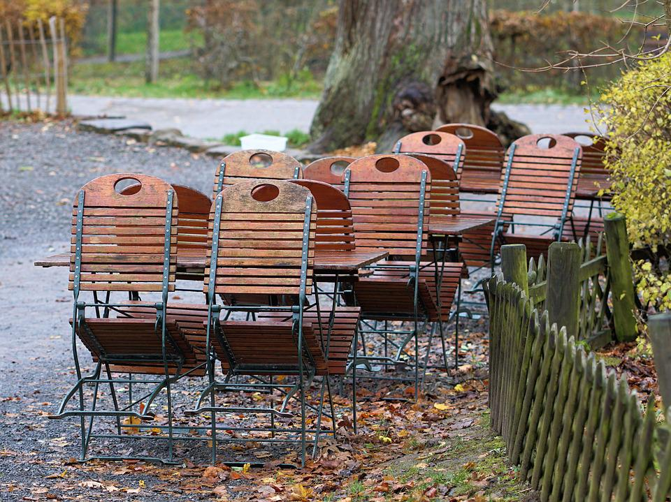 Beer Garden, Dining Tables, Chairs, Gastronomy, Autumn