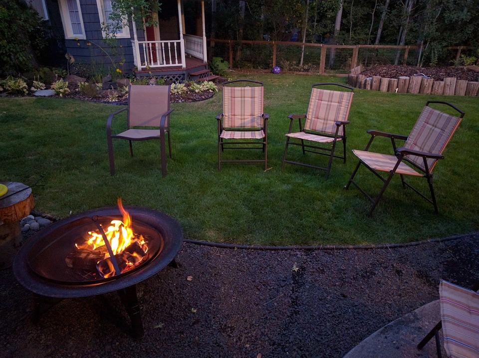 Backyard, Fire Pit, Chairs, Summer, Evening