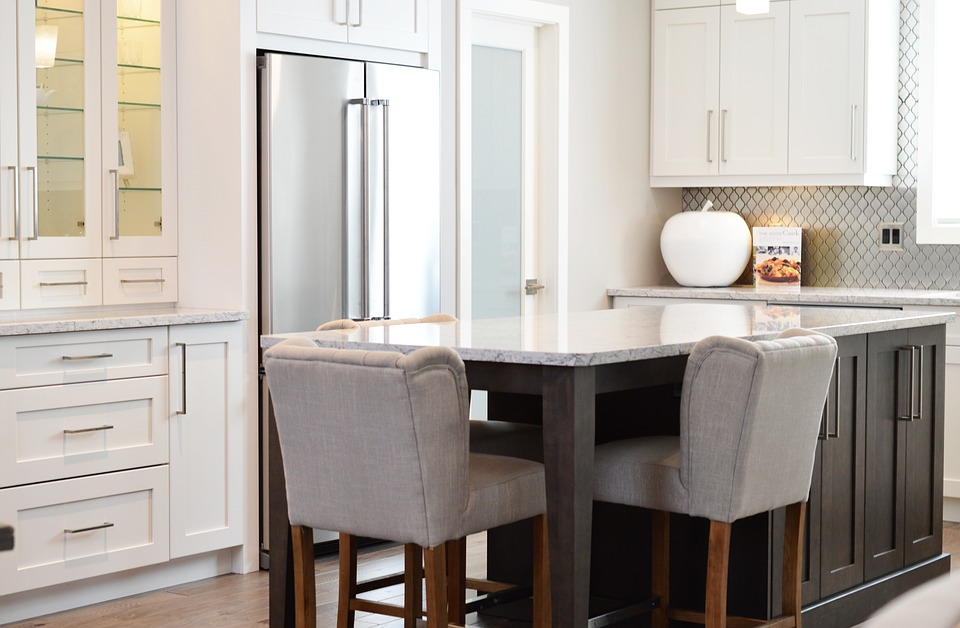 Kitchen, Counter, Chairs, Home, Interior, Design