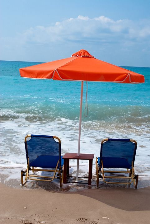 Beach, Umbrella, Chair, Chairs, Sea, Ocean
