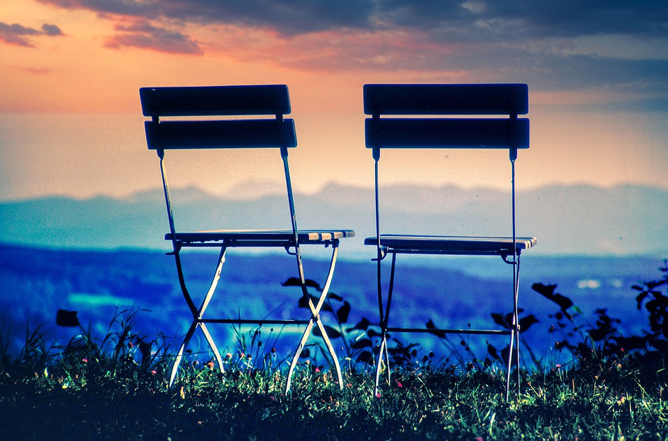 Chairs, Outlook, Dawn, Sunset, Rest, Two, Pair, Team