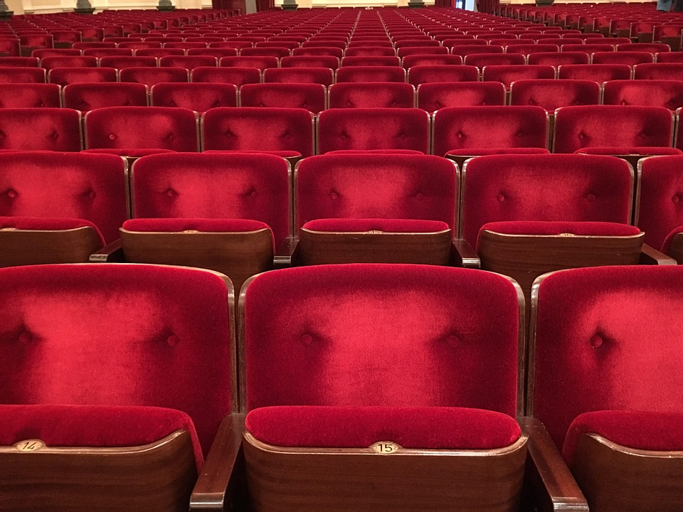 Theatre, Going Out, Cinema, Chairs, Plush, Show, Red