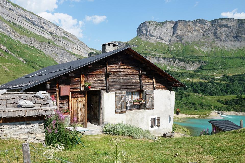 Chalet, Mountain, Alps, Lake, Roselend