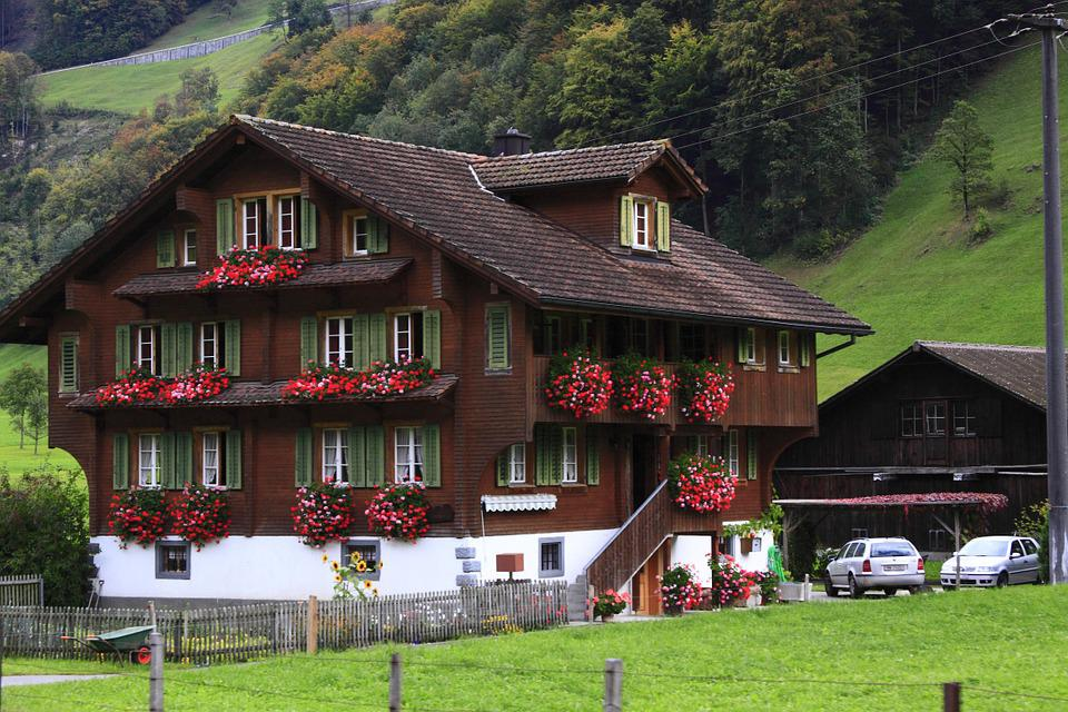 Chalet, Mountain Hut, Home, Building, Switzerland, Red