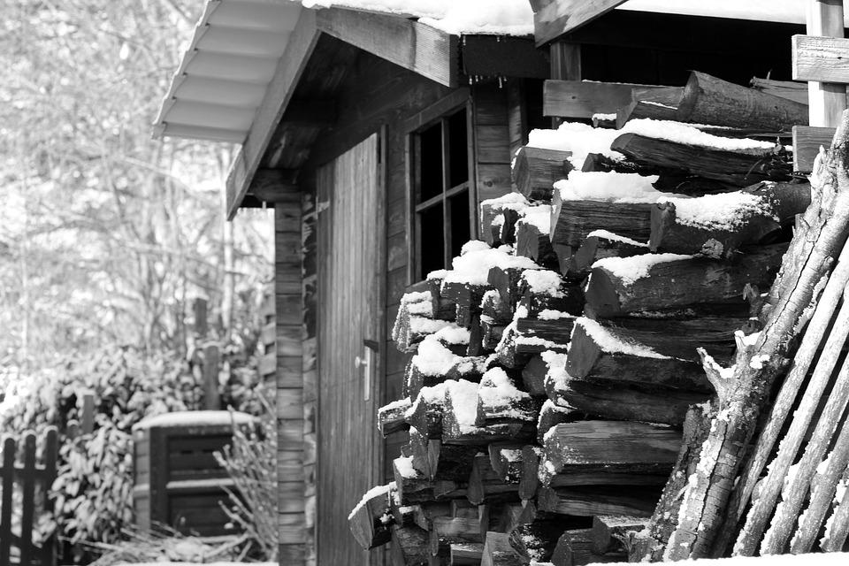 Chalet, Snow, Winter, Wood, Black And White, Cold