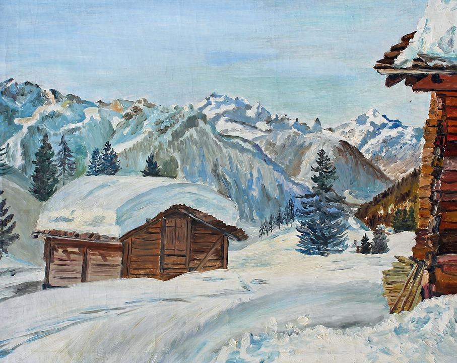Chalets, Haute-savoie, Mountain, Snow, Calm