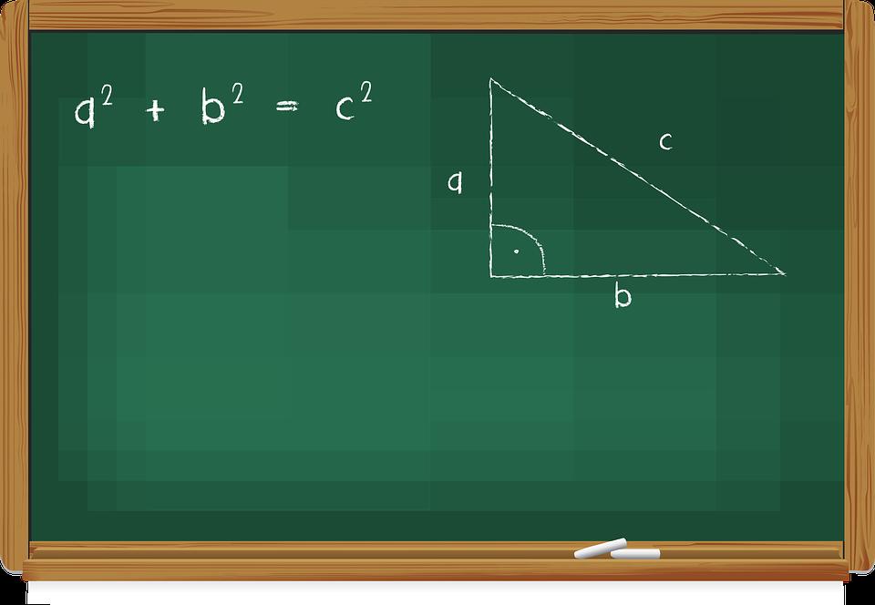 Blackboard, Teaching, Chalk, The Pythagorean Theorem