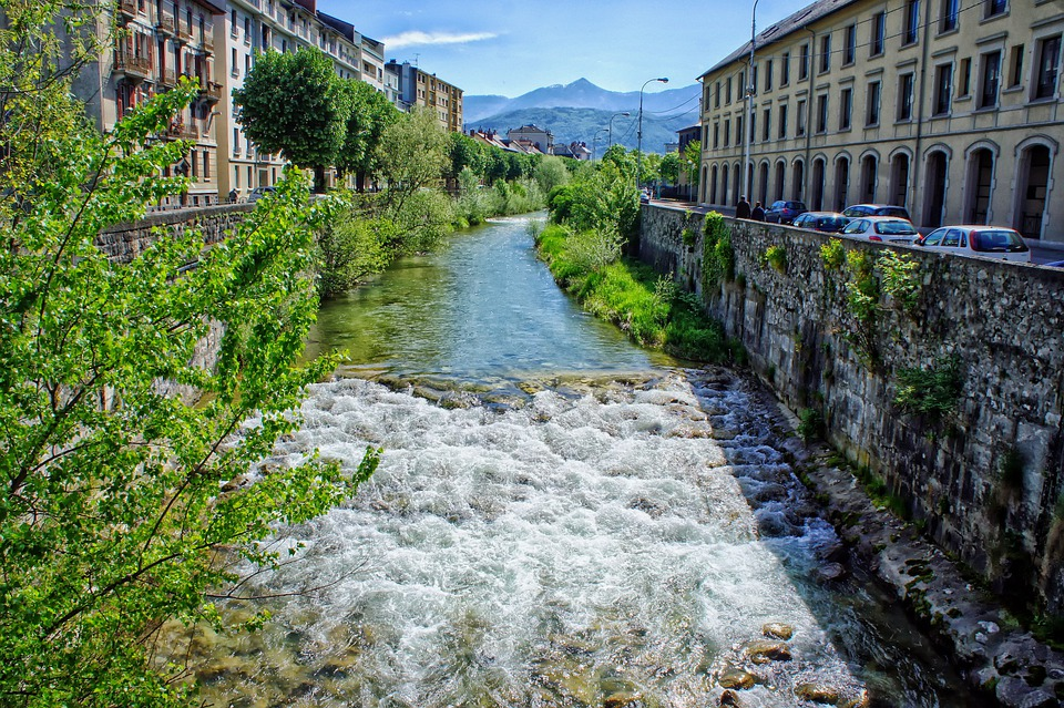 Chambery, France, City, Urban, Buildings, River, Canal