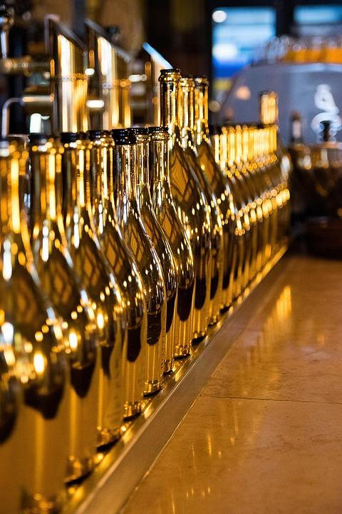 Empty Bottles, Champagne Bottles, Bar, Cafe, Gold