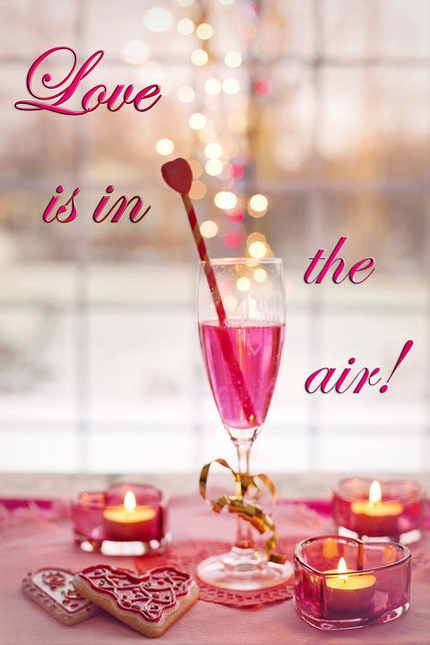 Valentine's Day, Champagne, Bubbles, Pink, Hearts