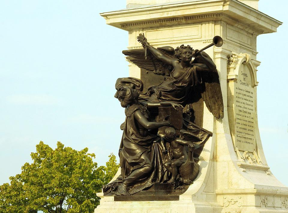Canada, Quebec, Old Town, Champlain, Monument, Bronze