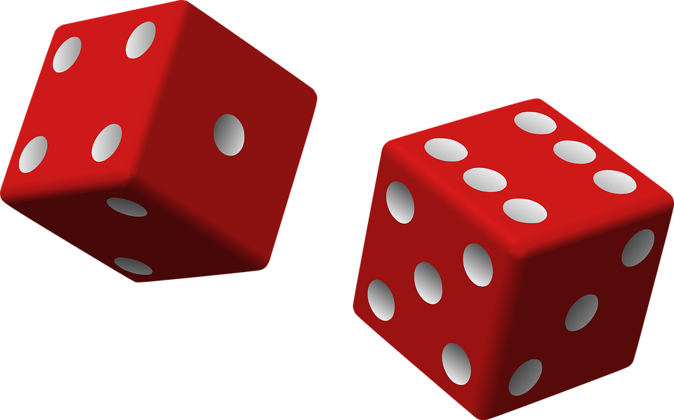 Dice, Red, Two, Game, Rolling, Chance, Luck, Gambling