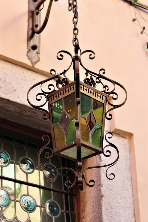 Chandelier, Old Chandelier, Stained Glass, Light, Green