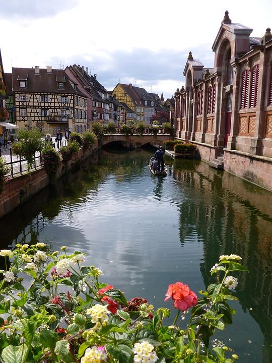 Water, Alsace, Colmar, Flowers, City, Channel