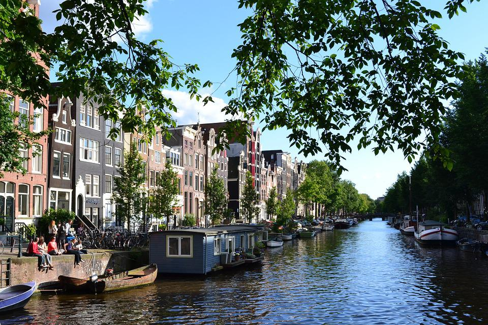 Amsterdam, Channel, Barges, Netherlands, Holland
