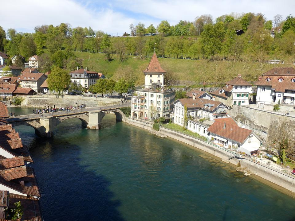 Bern, Bridge, City, Channel, Switzerland