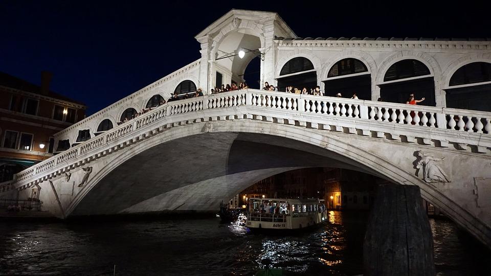 Rialto Bridge, Bridge, Venice, Channel, Architecture