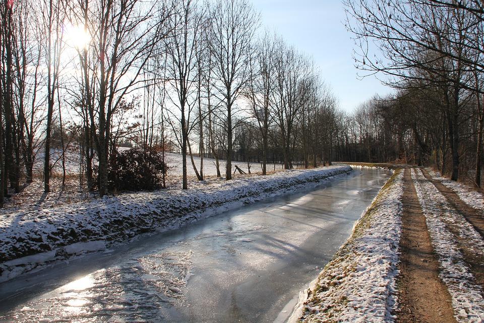 Channel, Frozen, Snow