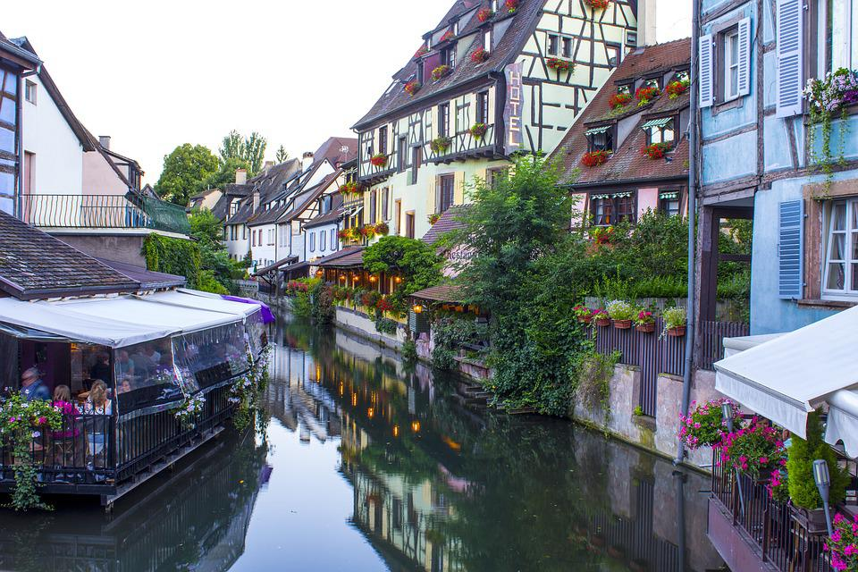Channel, Colmar, Alsace, Little Venice, Houses, Trellis