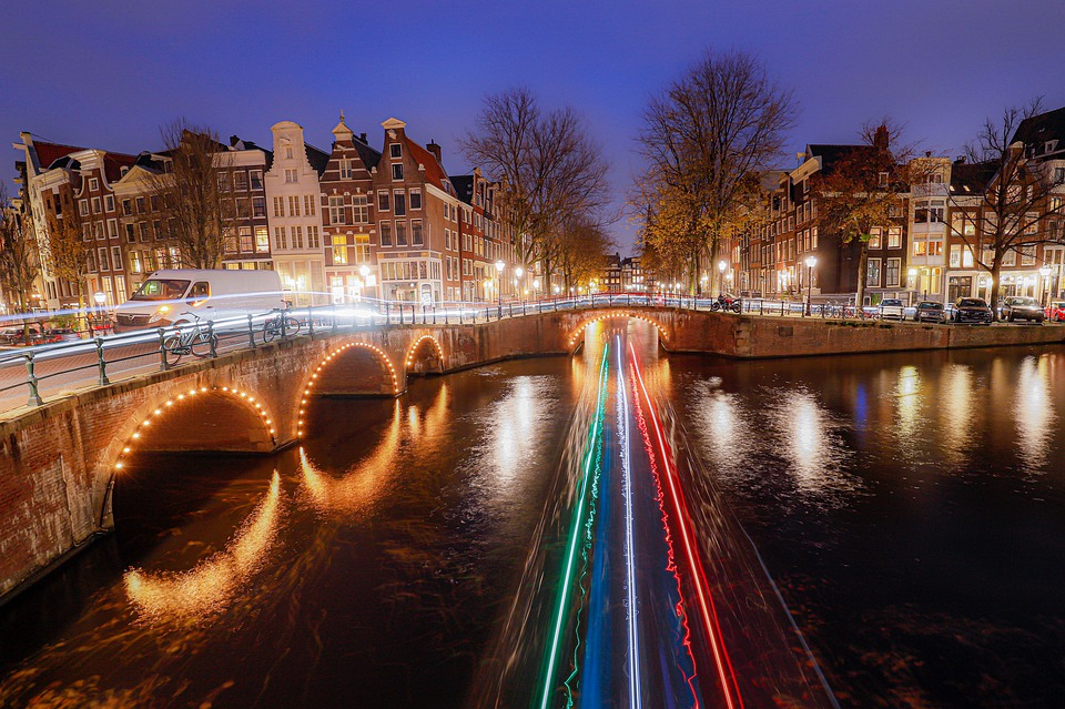 Amsterdam, Channels, Canals, Night Photograph
