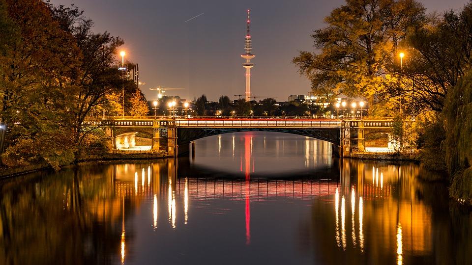 Bridge, Alster, Channels, Water, Panorama, Hanseatic