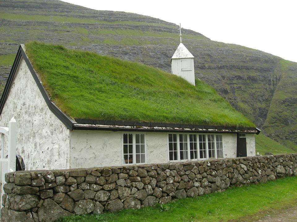 Faroes, Chapel, Church, Grass Roof, Bell Tower