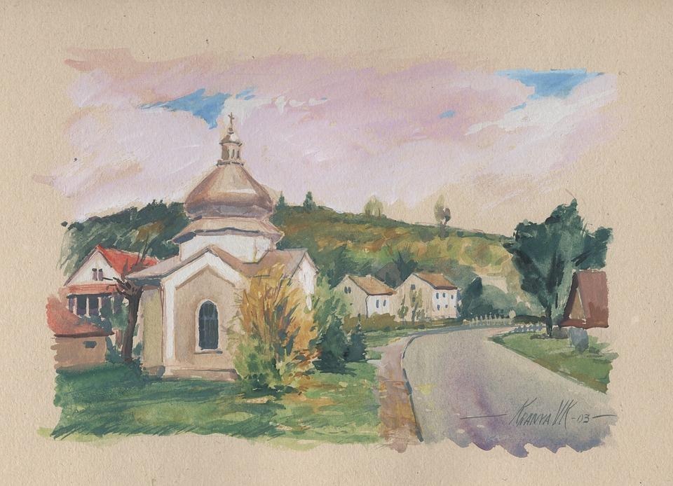 Bieszczady, Chapel, Picture, Watercolor, Henry Cudziło