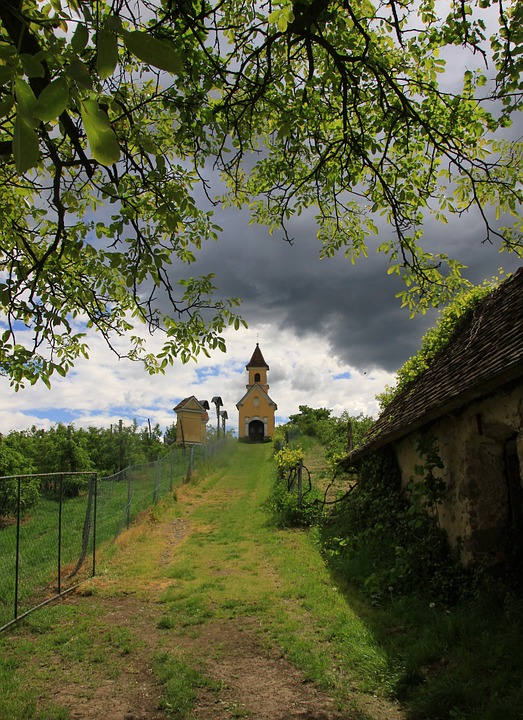 Chapel, Calvary, Nature, Weather Mood, Trail, Clouds