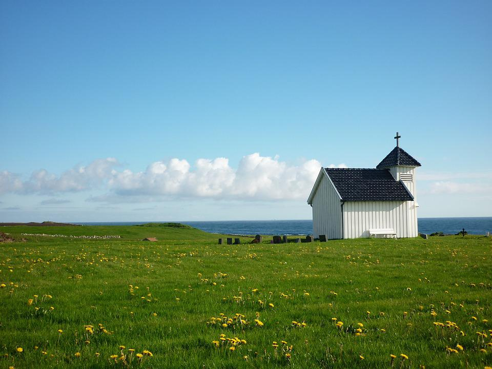 Norway, Chapel, Meadow, Cemetery, Religion