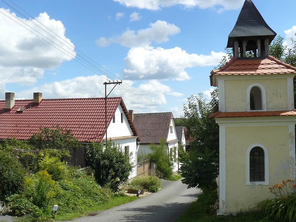 Houses, Village, Chapel, Summer