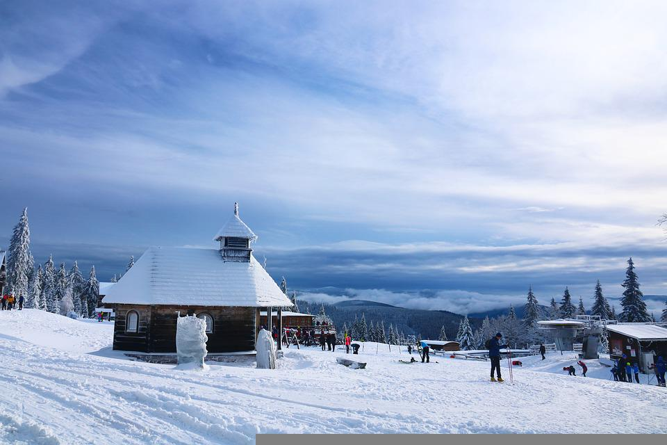 Chapel, Snow, Mountain, Town, Buildings, People, Winter