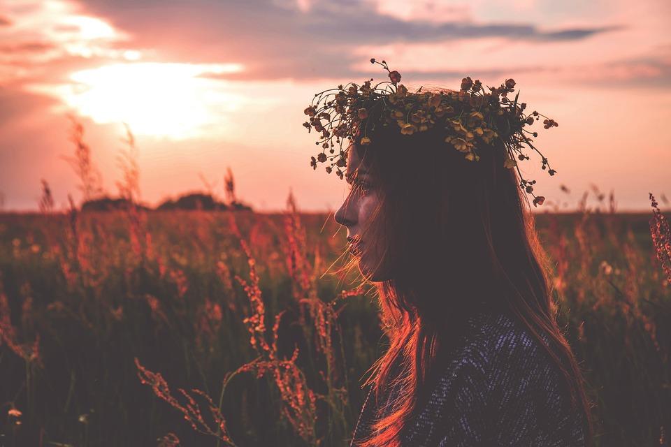 Chaplet, Field, Flower Crown, Model, Outdoors, Person