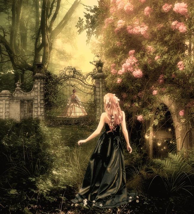 Woman, Character, Blonde, Fantasy, Garden, Flowers