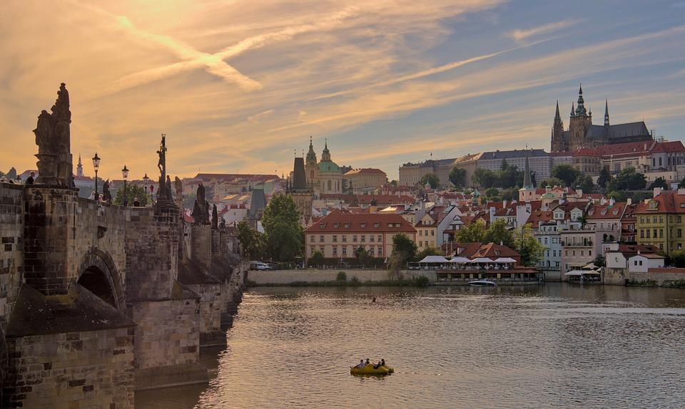 Prague, Charles Bridge, River, Bridge, Cityscape