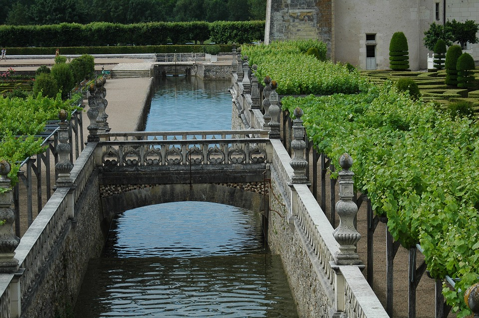 Château De Villandry, Castle Garden, Channel, Bridge
