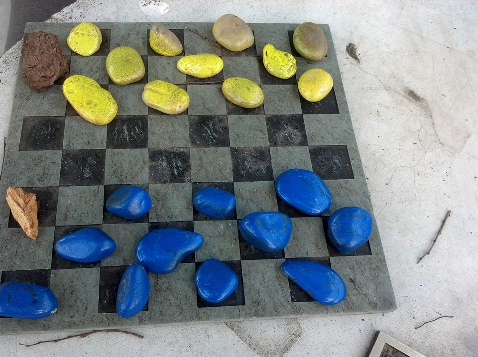 Checkers, Park, Game, Chessboard