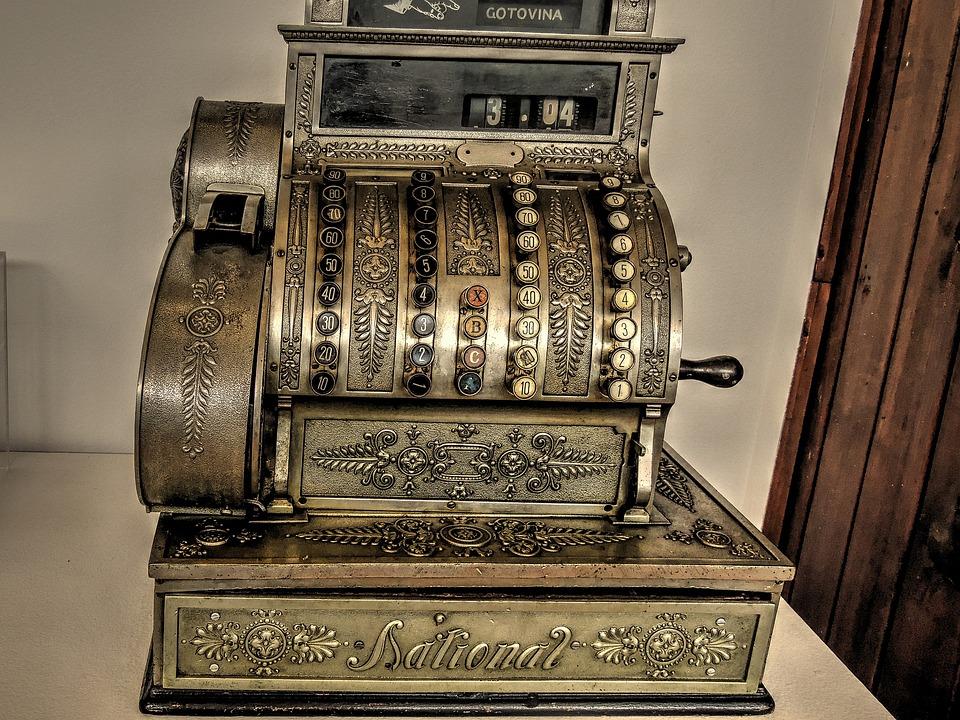 Checkout, Cash Register, National, Old Cash Register