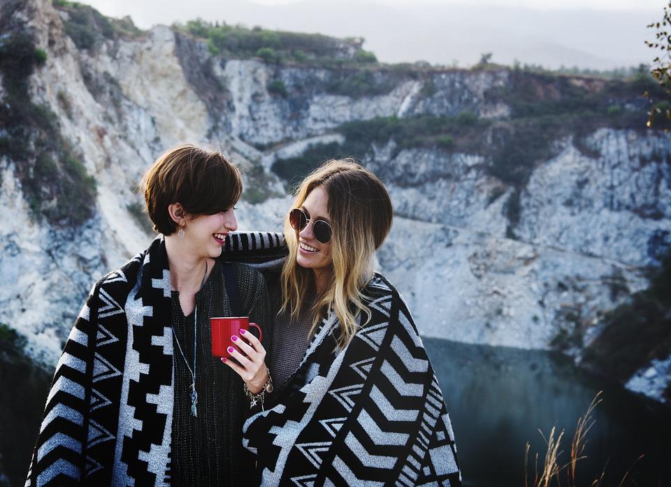 Blanket, Cheerful, Cup, Embracing, Enjoy, Friends