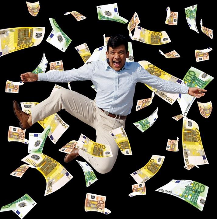 Man, Winner, Money Rain, Joy, Happy, Jump, Cheerful
