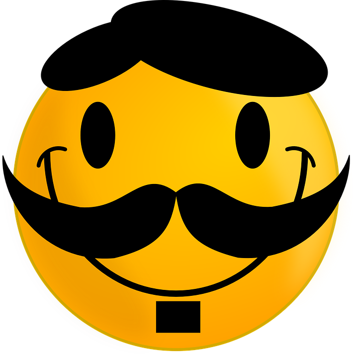 Smiley, Moustache, Happy, Face, Smile, Cheerful