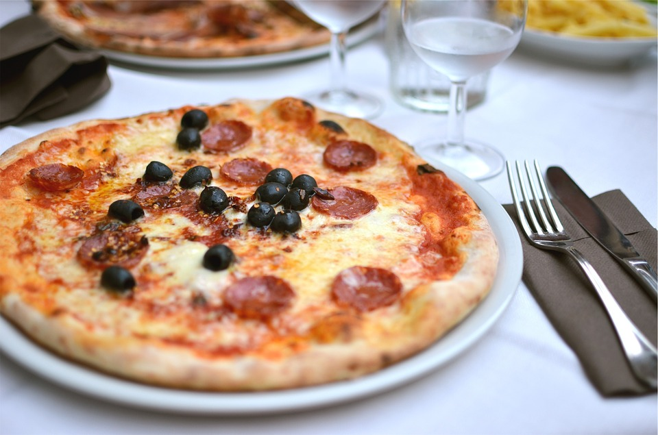 Pizza, Food, Pepperoni, Black Olives, Cheese, Fork