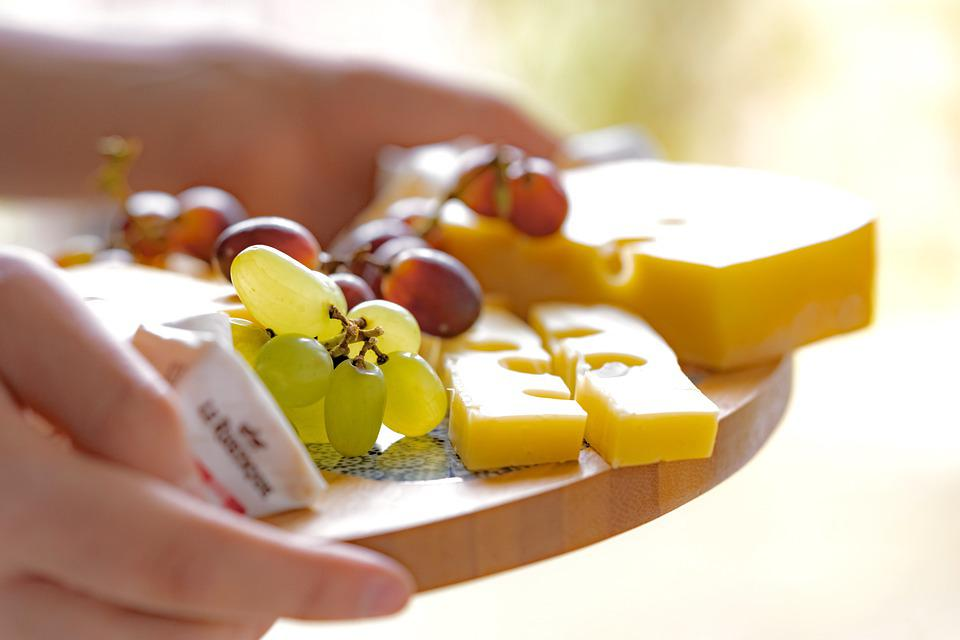 Cheese Platter, Food, Snack, Grapes, Cheese