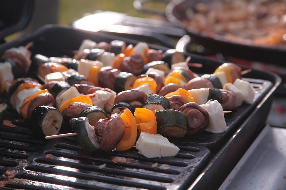 Barbecue, Bbq, Kebabs, Meat, Cheese, Peppers, Food