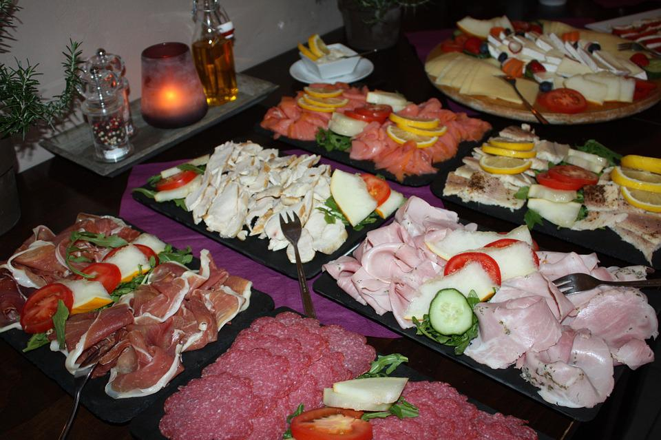 Breakfast Buffet, Cheese, Sausage, Ham, Salmon, Salami