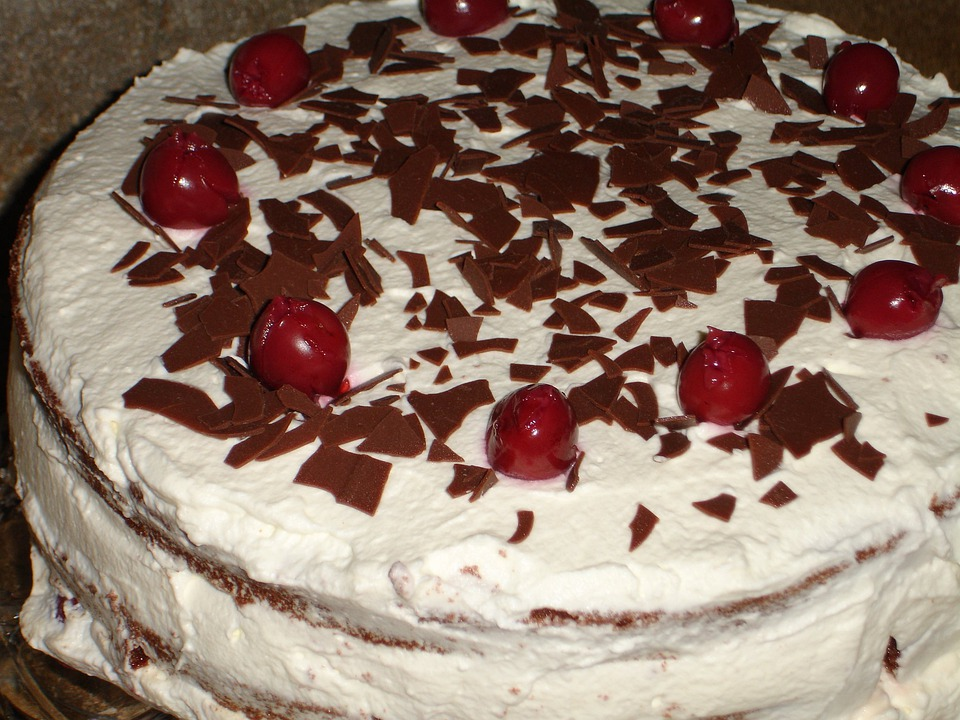 Black Forest Cake, Cake, Eat, Food, Cream, Cherries