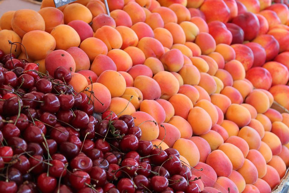 Fruit, Market, Food, Healthy, Many, Peaches, Cherries