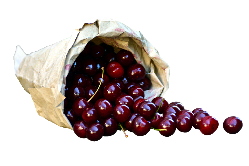 Cherries In Bag, Isolated, Eat, Delicious, Food, Fruit