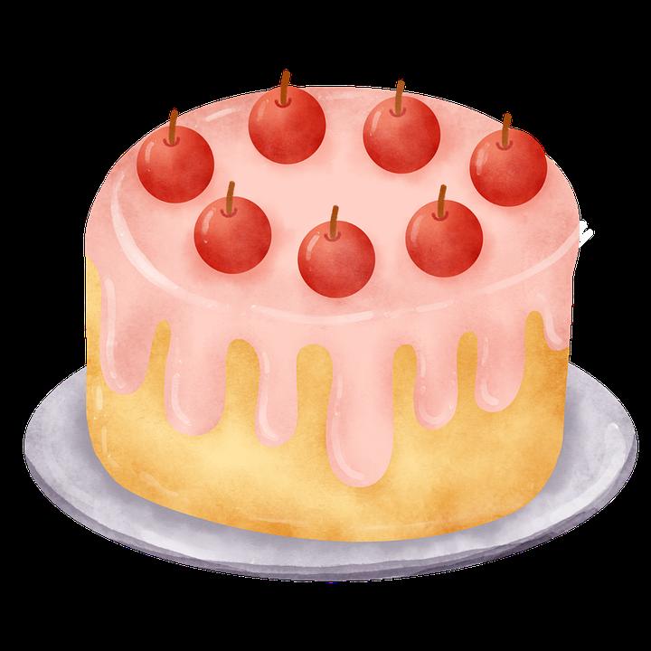 Birthday, Cherry, Cake, Pie, Pastry, Dessert, Food